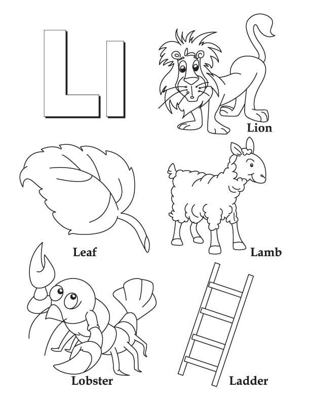 My a to z coloring book letter l coloring page pre k for L coloring pages