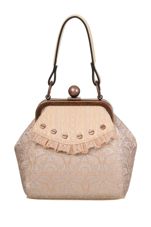 7e66baefbbad Remis en stock   Back in stock  Handbag purse retro beige and bronze gothic  steampunk