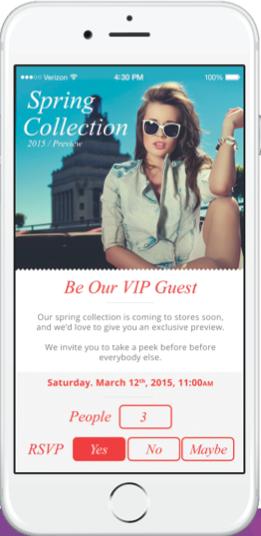 La gestion d'invitations VIP dans  l'appli mobile de l'enseigne, un exemple de service in-store