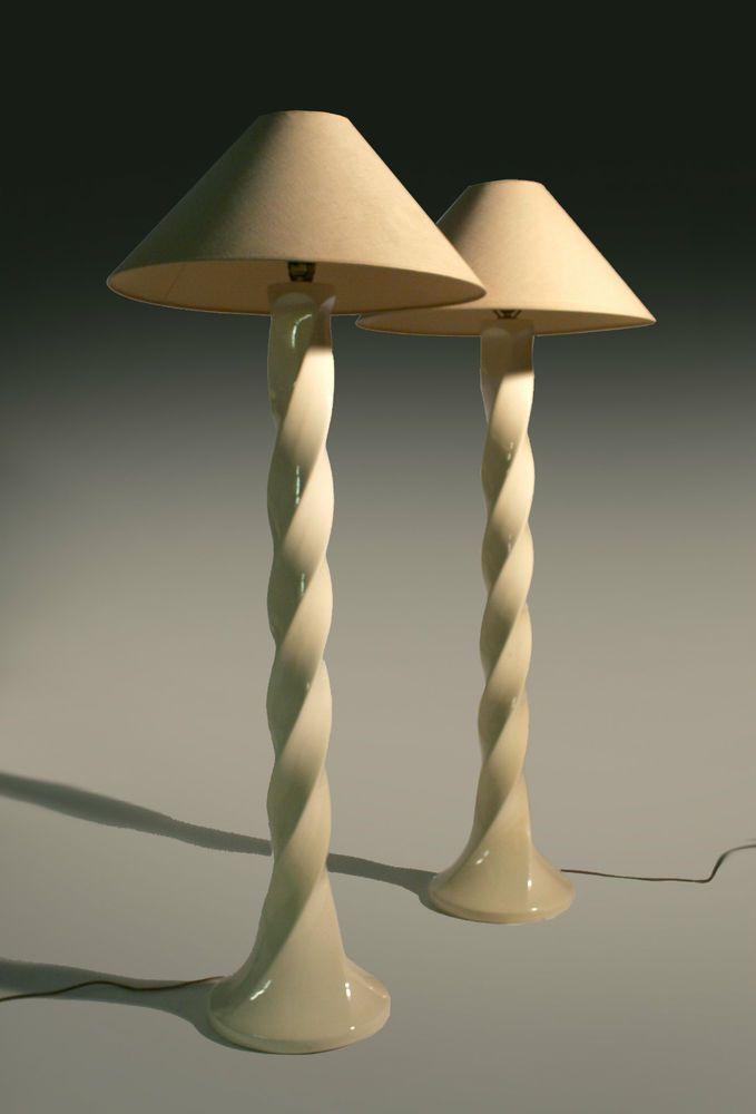 PAIR MID CENTURY MODERN CERAMIC TWIST FLOOR LAMPS HOLLYWOOD REGENCY - PAIR MID CENTURY MODERN CERAMIC TWIST FLOOR LAMPS HOLLYWOOD