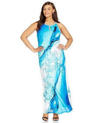 2976ffc5125d Plus Size Water-Print Keyhole Maxi Dress - Dresses - Plus Sizes - Macy's