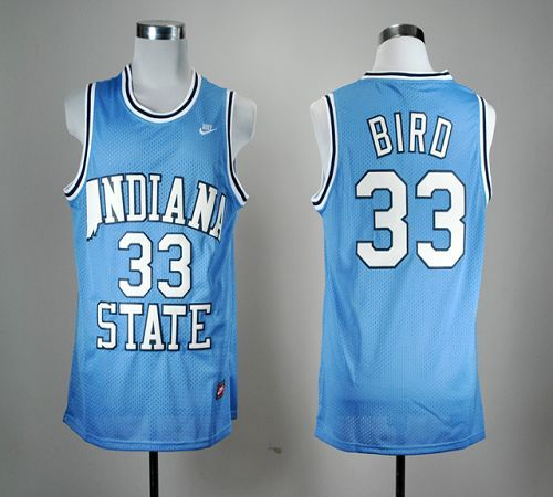 Sycamores #33 Larry Bird Blue Hardwood Legends Basketball Embroidered NCAA  Jersey! Only $21.50USD