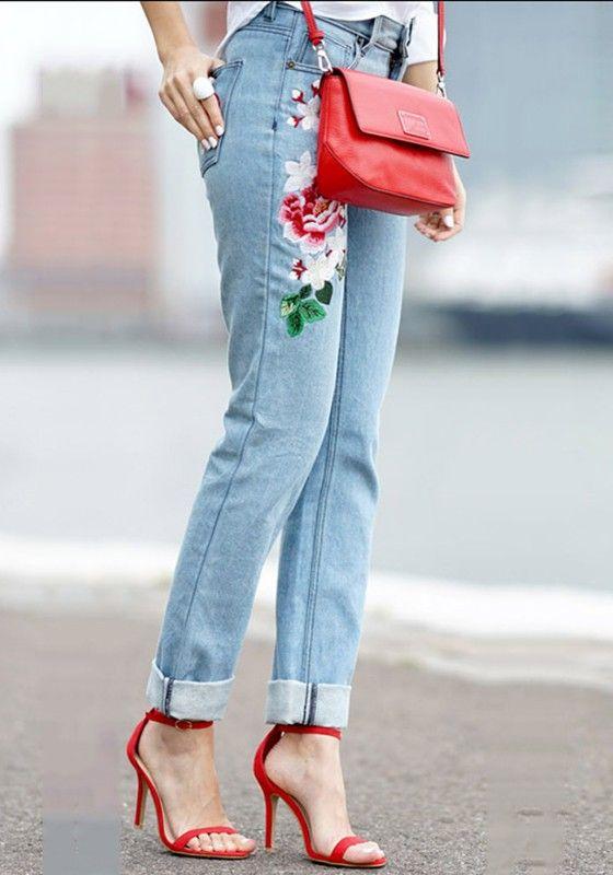 Jeans pantalons fleurs brodé droit grande taille haute motif chic femme bleu ed72dee99ac