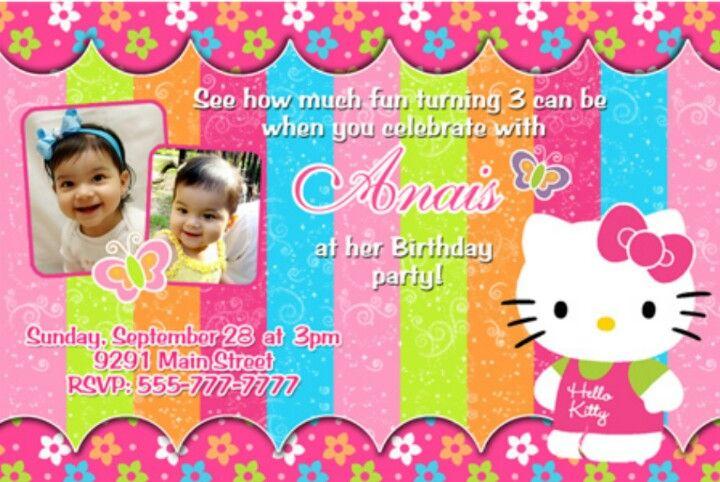 Hello kitty birthday invitation Hello Kitty Theme Pinterest