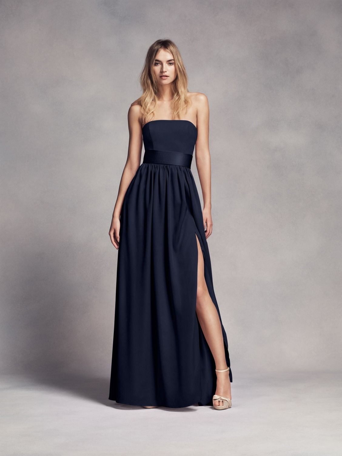 Long strapless midnight blue white by vera wang bridesmaid for Long blue dress for wedding