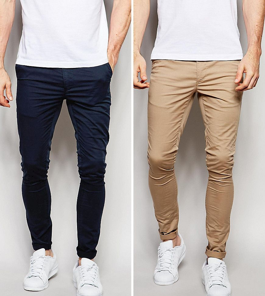 2 Pack Extreme Super Skinny Chinos In Navy & Stone SAVE