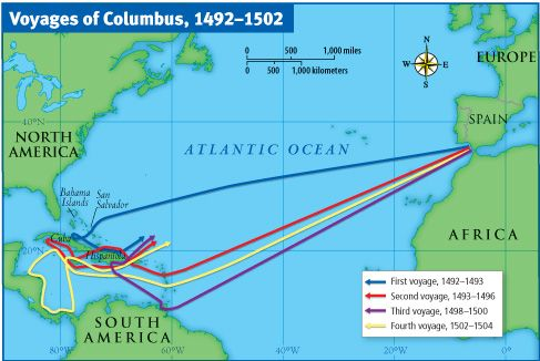 These are the routes that Christopher Columbus took during ...