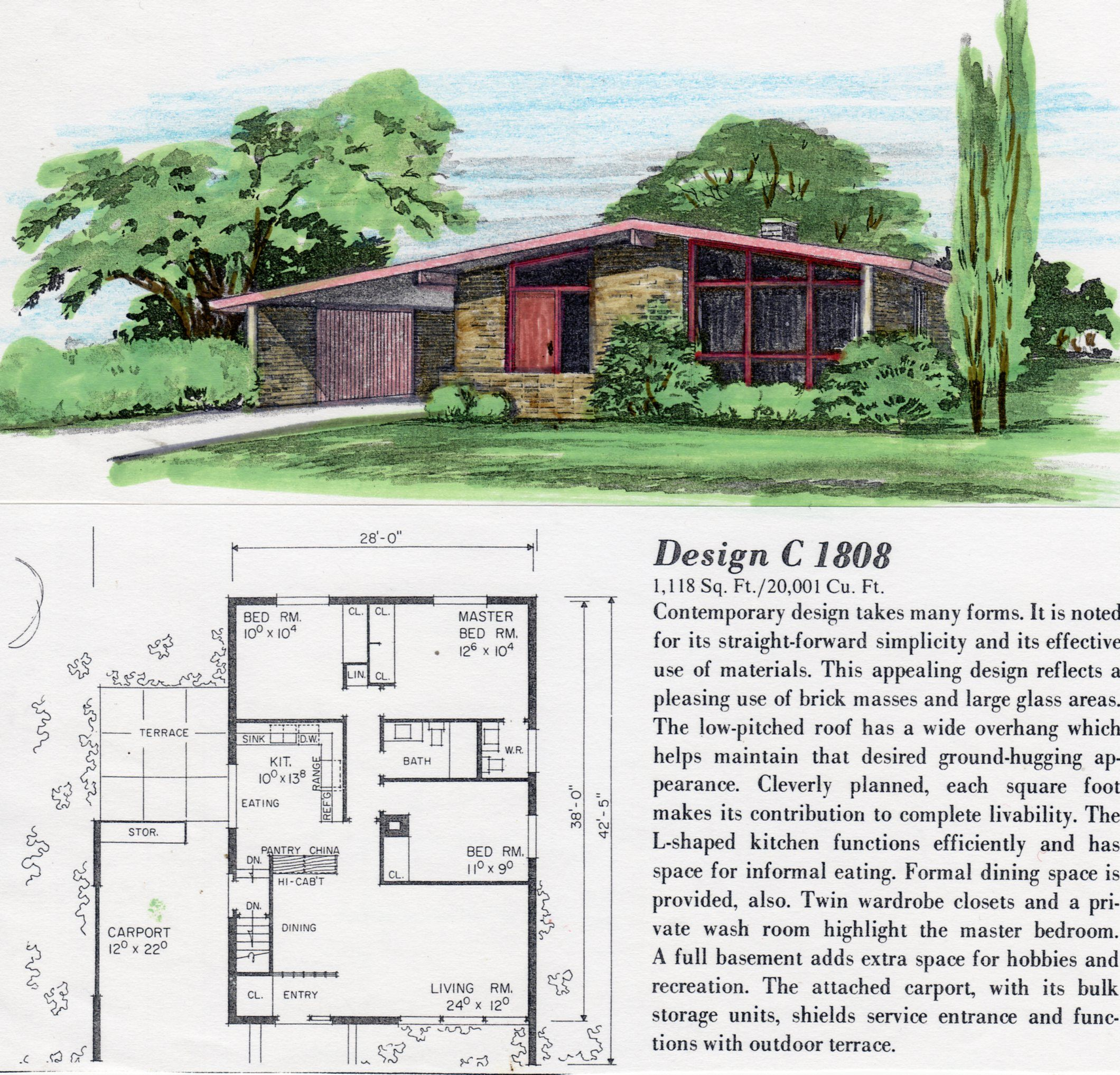 Mid Century Modern house, architectural plans Mid