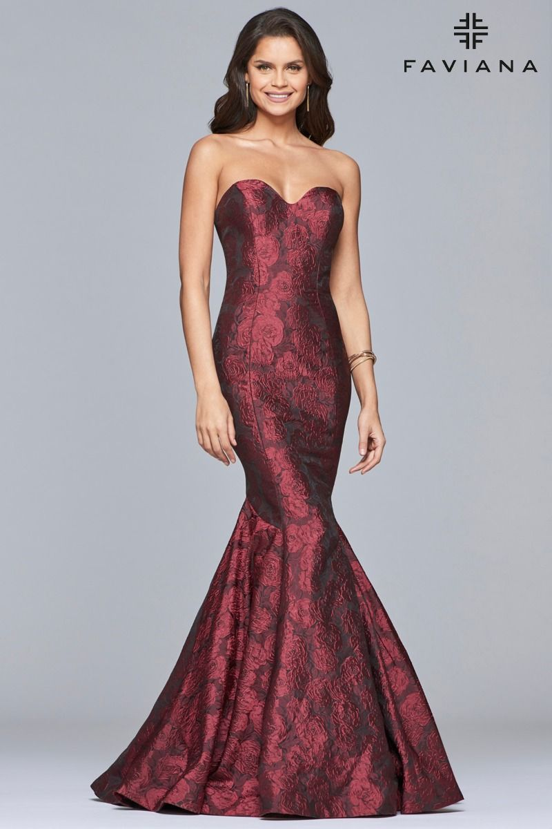 9c04bf13abe Faviana Style S10118 is enchanting and romantic! This beautiful sweetheart  medium weight jacquard mermaid gown features floral appliqués all over.