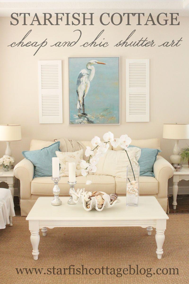 Cheap Chic Shutter Art Beach Living Room Cottage Living Rooms
