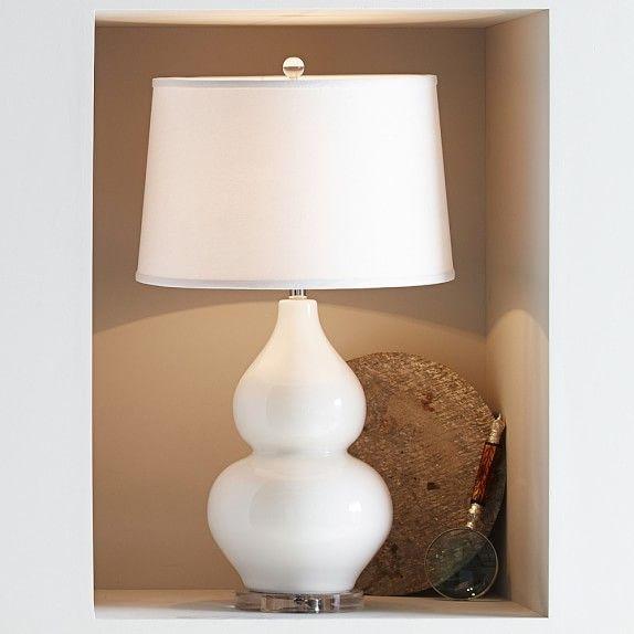 Hollis Ceramic Table Lamp White 17 Diam 31 High Overall Ceramic Body Hand Glazed In Glossy White Set On A Clear Acryl Lamp Table Lamp Glass Table Lamp