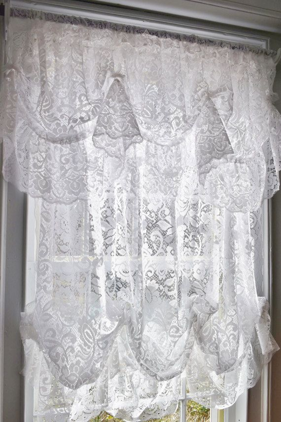 White Lace Balloon Curtain and Valance Set, Ruffled Floral