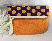 Woman's Fold Over Coin Pouch, Small Wallet, Zipped Closure, Magnetic Snap, Business Cards, Two Tone Orange and Purple Polka Dot