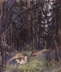 Attacked a goat gray wolves - Zinaida Serebriakova