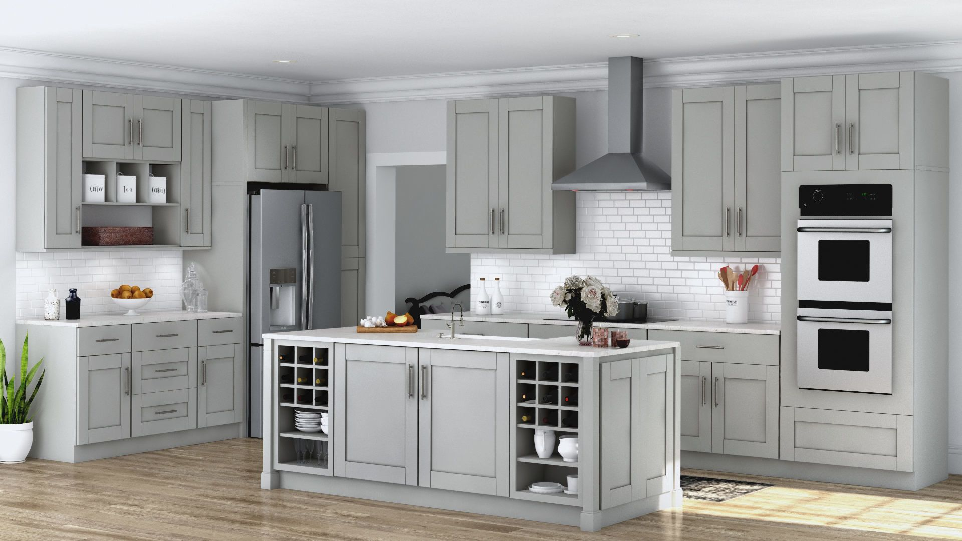 Shaker Base Cabinets In Dove Gray Kitchen The Home Depot Island With Walnut Butcher Block Home Depot Kitchen Home Depot Cabinets Grey Kitchen Cabinets