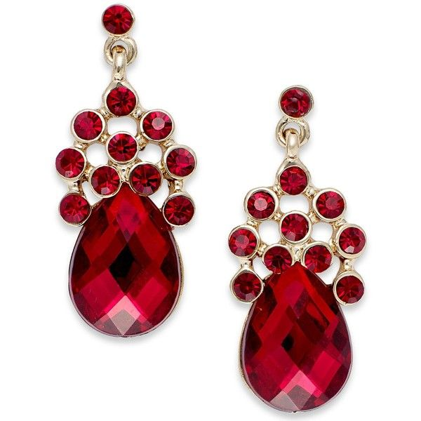 Style&co. Gold-Tone Red Faceted Crystal Teardrop Earrings (€9,15) ❤ liked on Polyvore