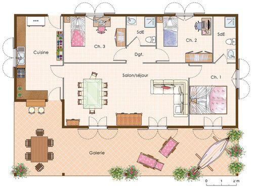 Plan maison creole planfloor Pinterest - modele plan maison plain pied gratuit