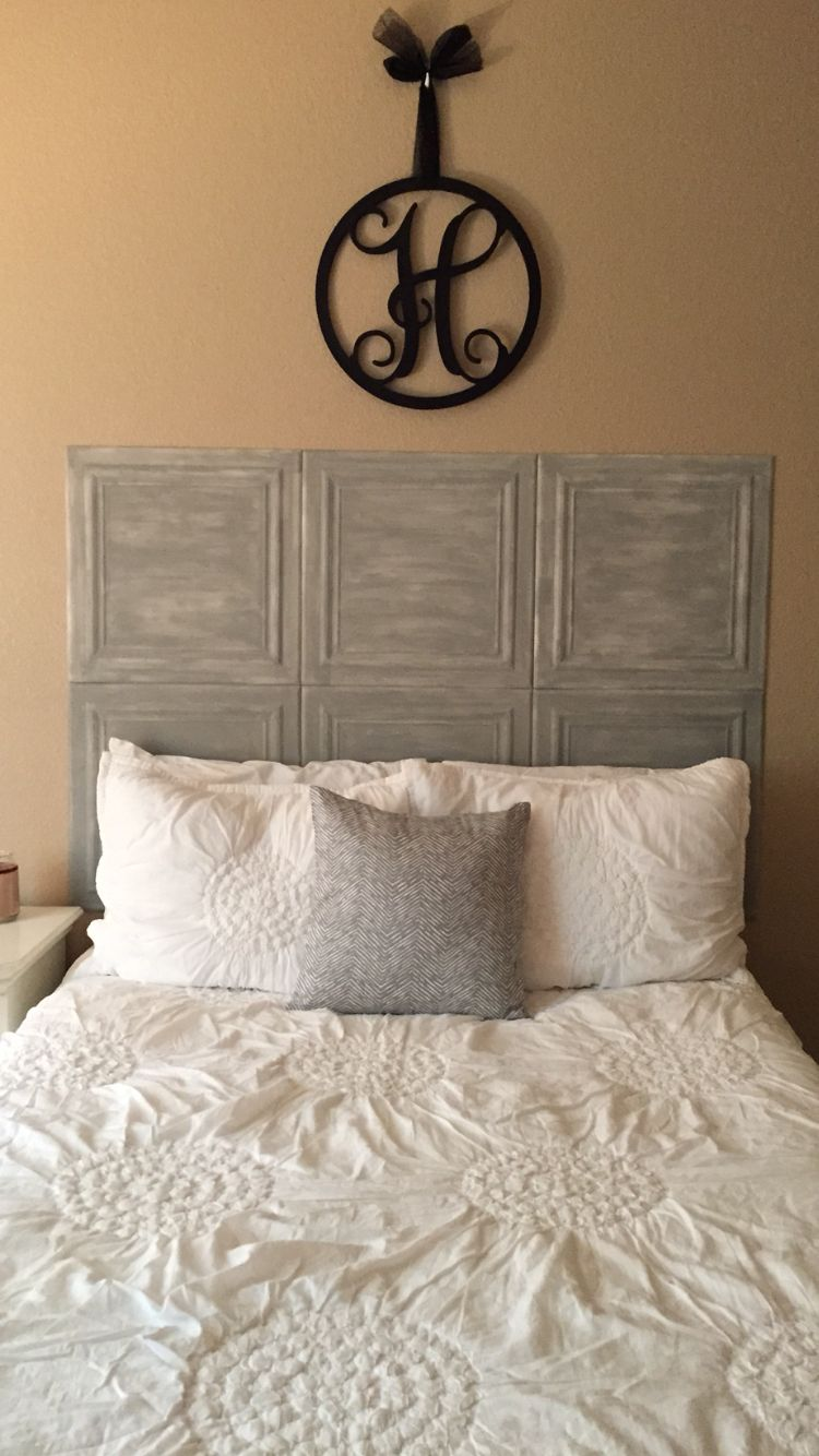 Diy headboard made from styrofoam ceiling tiles hand painted diy headboard made from styrofoam ceiling tiles hand painted with acrylic paint dailygadgetfo Images