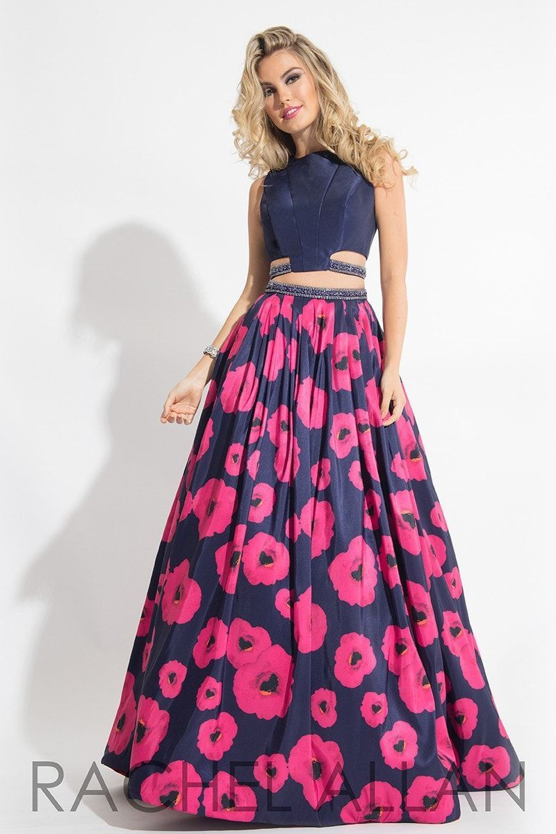 Have a rocking two piece that has a floral skirt print and a key