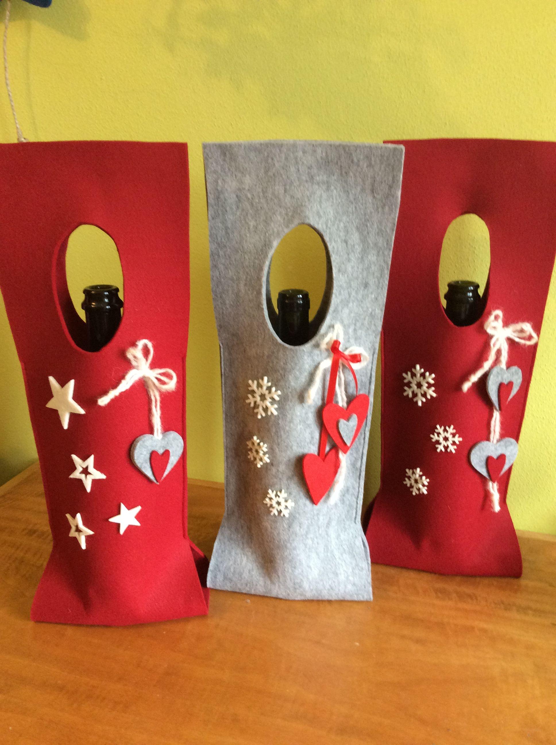 Porta bottiglia natalizio in feltro porta torte in for Porta vino fai da te