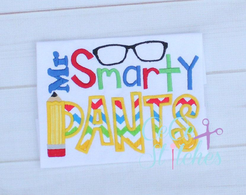 Mr Smarty Pants Applique Embroidery Design - pinned by pin4etsy.com
