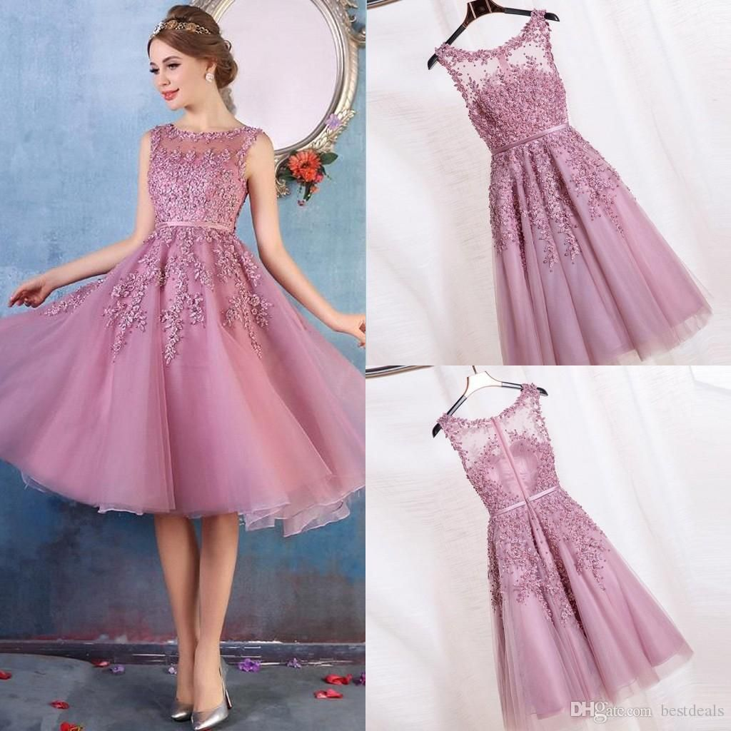 2017 Cheap New Crew Neck Lace A Line Knee Length Homecoming Dresses ...