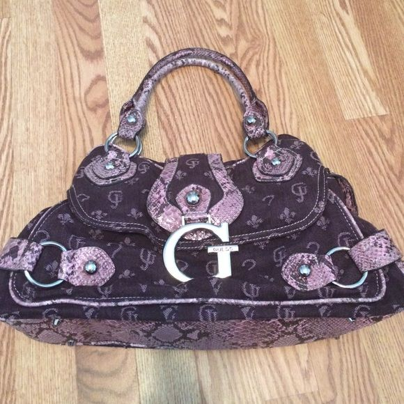 44c52c6ae4 Guess Purple Snakeskin design Bag Guess Purple cloth bag with snakeskin  like embellishments. Good condition