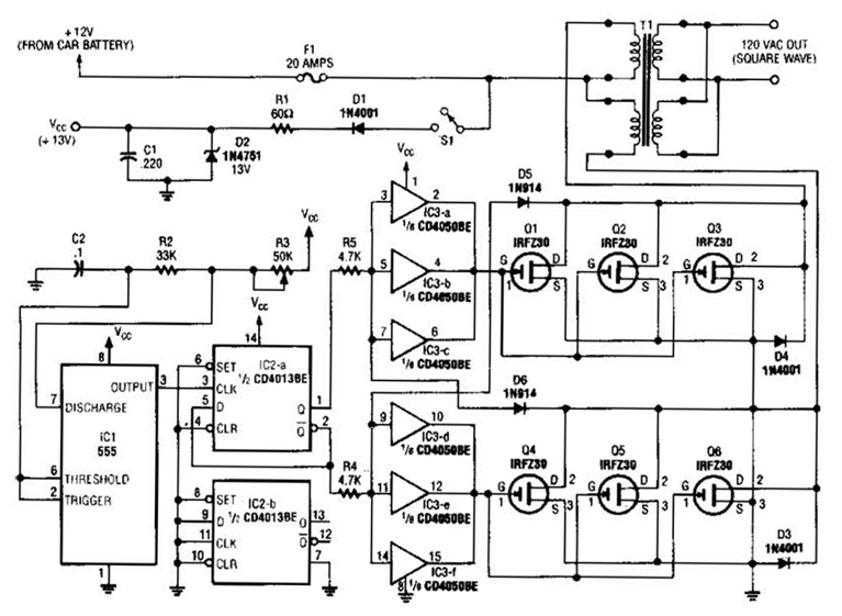 Simple W Inverter Circuit Diagram Electronic Cicuits - Circuit diagram of an inverter