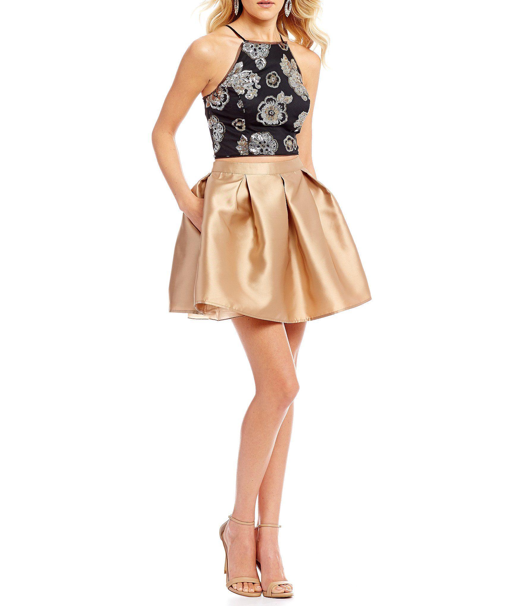 Teeze me sequin pattern top twopiece dress dillards clothing