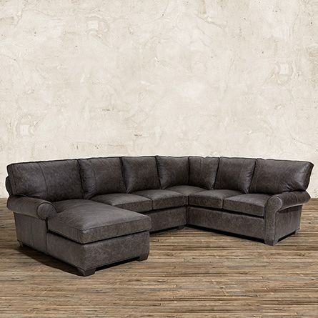 "Brentwood 124"" Leather Three Piece Sectional in Saloon Grey 