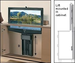 tv lift motorized umbau ef fernseher verstecken. Black Bedroom Furniture Sets. Home Design Ideas
