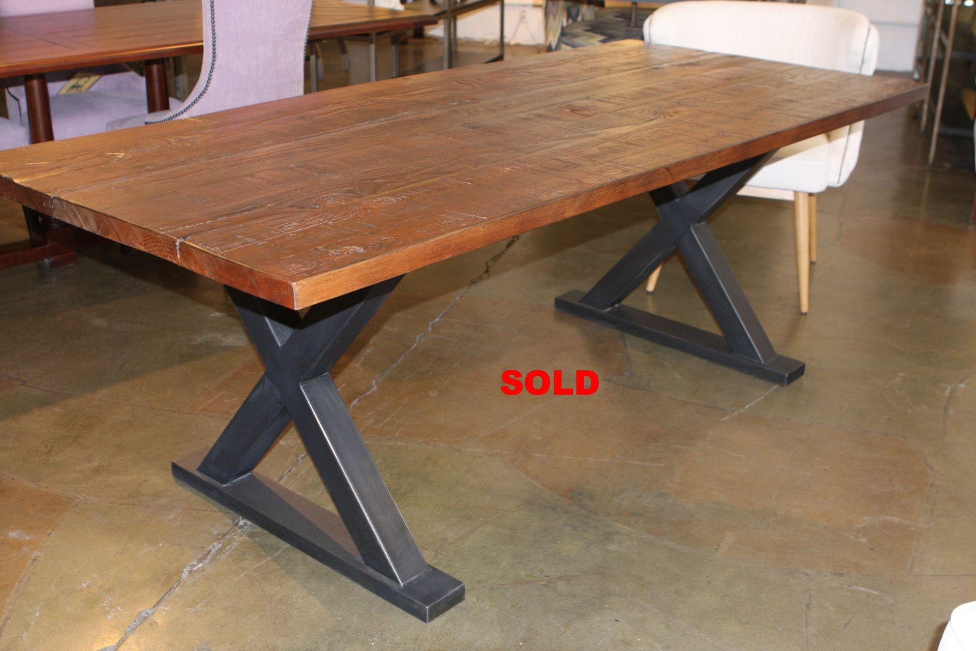 Tables rustic solid wood trestle pedestal base harvest dining table - Metal Base Reclaimed Wood Custom Dining Table Jpg