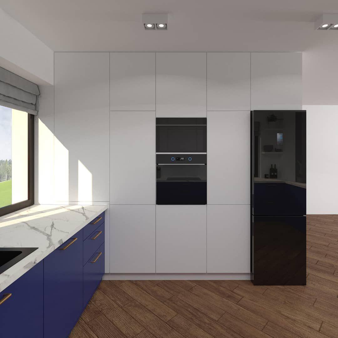 Kuchnia Zabudowa Wysoka Biala Niebieska Blat Marmur Lodowka Samsung Lodowka Czarna Interior Design Home Decor Kitchen Cabinets