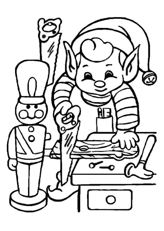 Coloring page Elf working - img 8652 Weihnachtsfarben