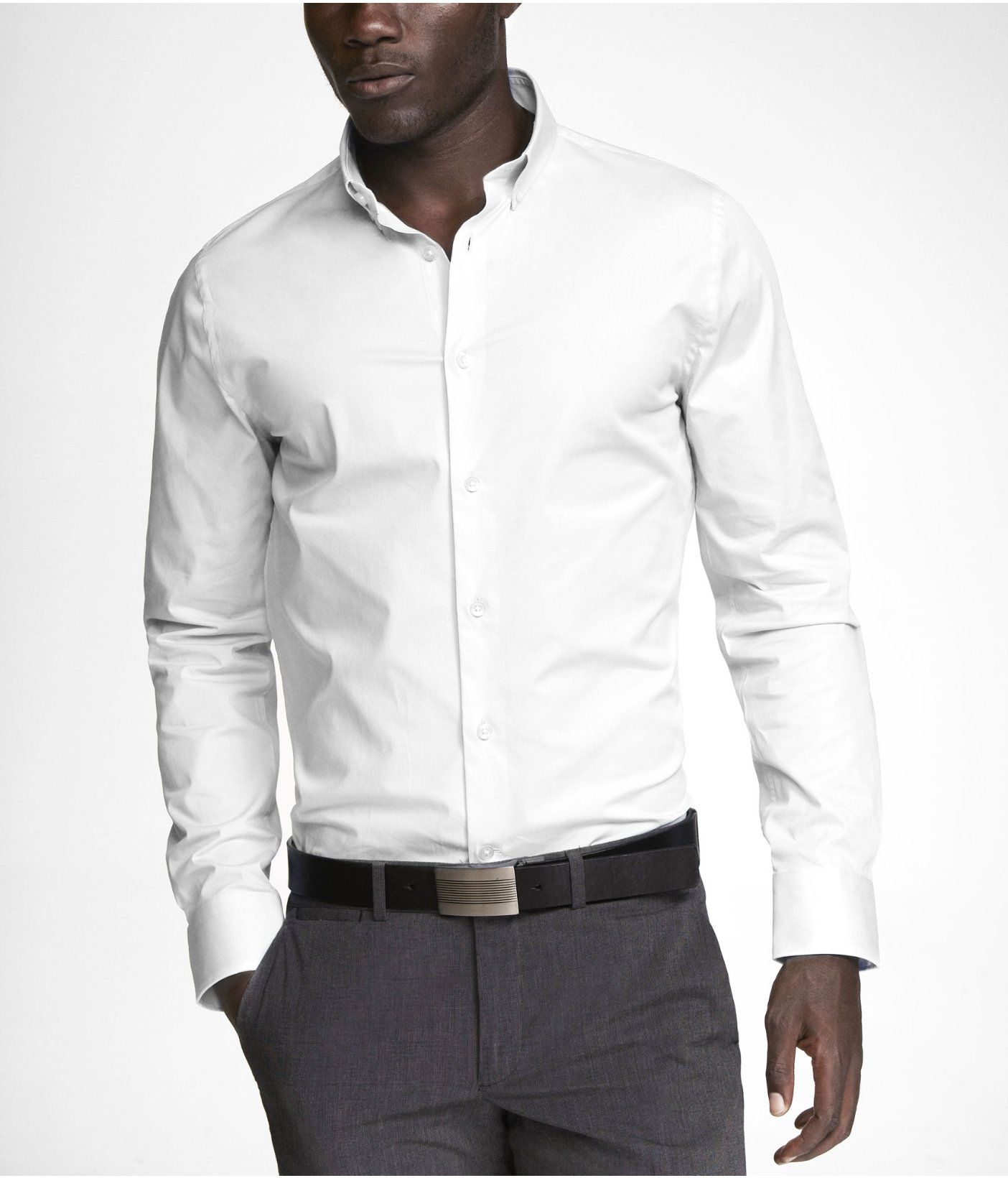 Extra Slim 1mx Button Down Collar Shirt Express Mens White Dress Shirt Mens Shirt Dress Mens Outfits [ 1640 x 1404 Pixel ]