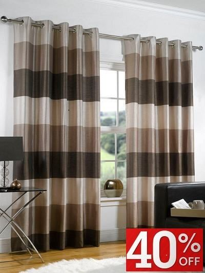Chocolate Cream Striped Curtains Low Price Promise Eyelet