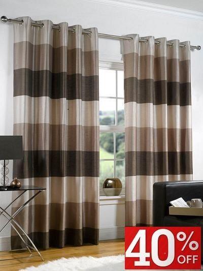 Chocolate Cream Striped Curtains Low Price Promise Eyelet Curtains Living Room Curtains Living Room Curtain Decor Home Curtains