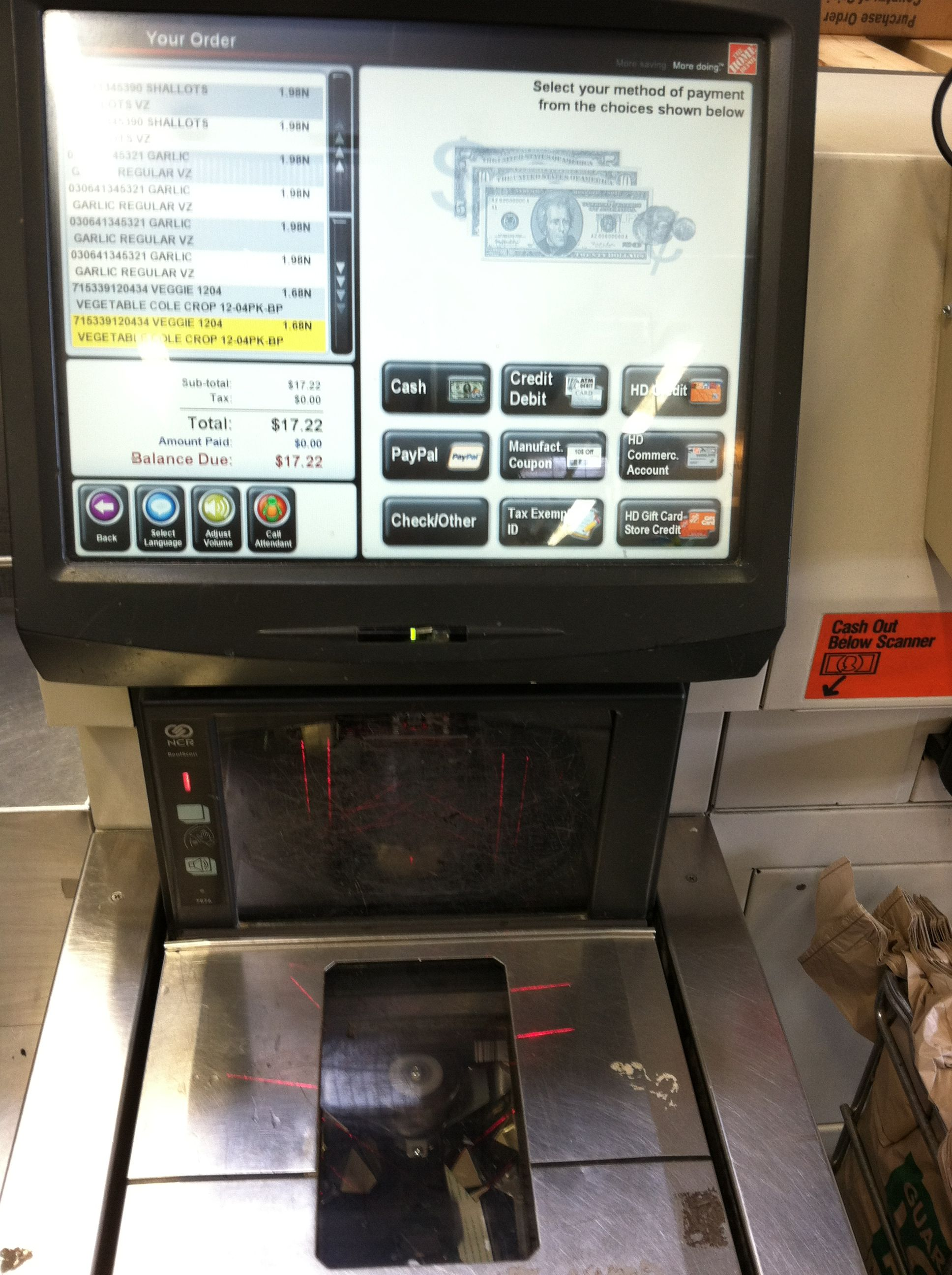 PayPal option on Home Depot Self Checkout Kiosk | Tech Watch ...