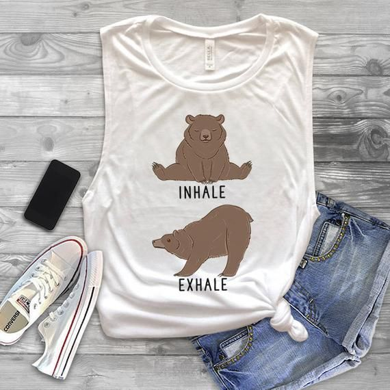 3d82ba9b79 Inhale Exhale Grizzly bear Muscle Tank Top, Funny Grizzly bear Yoga Workout  Tank Top for Women, Gym