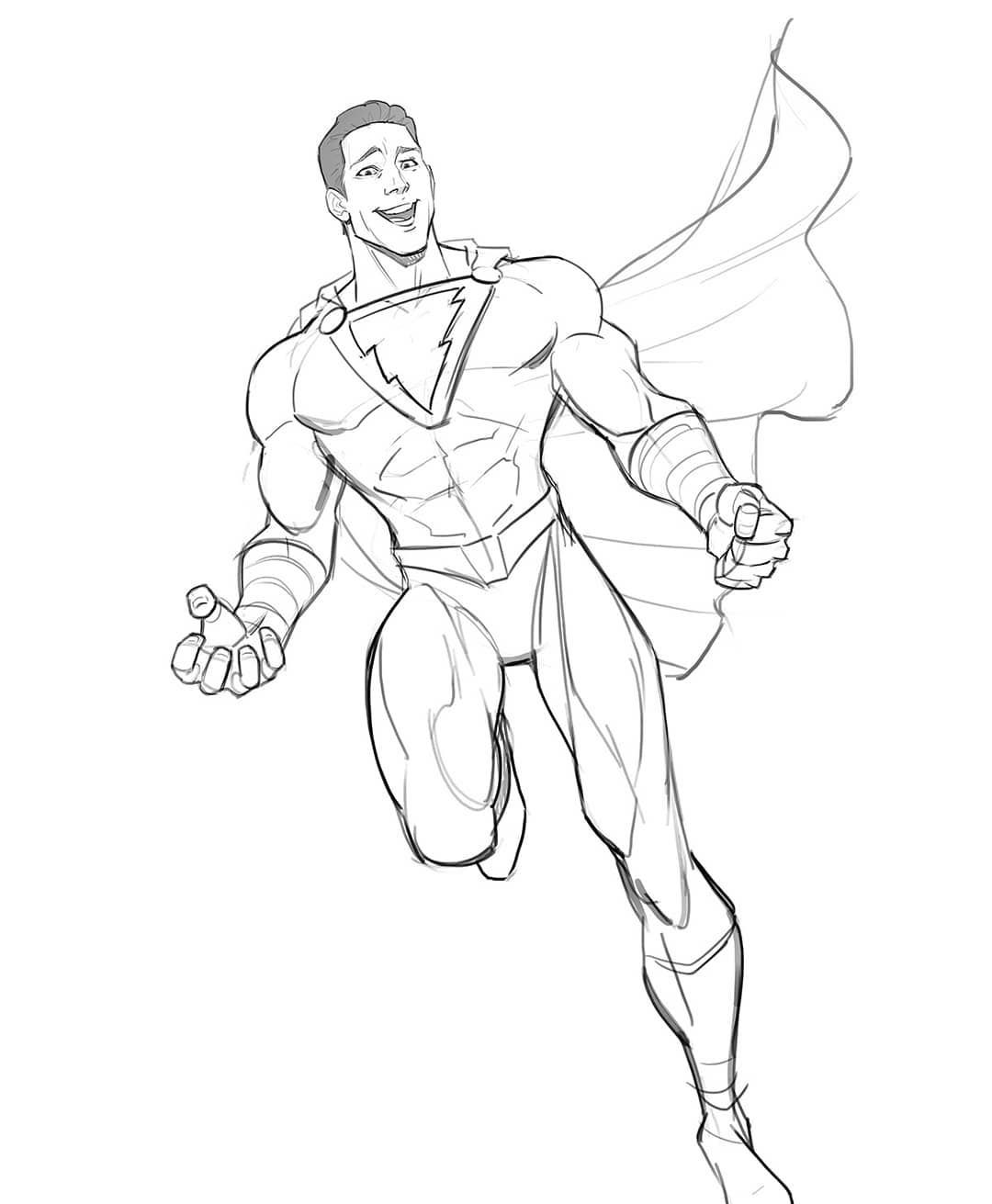 Shazam I Loved The Trailer So Keen For This Movie Zacharylevi Will Ace This Role Should Be A Lot Comic Artwork Drawing Drawing Superheroes Marvel Drawings