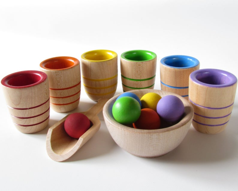 Wooden Toy Cups And Balls Montessori Style Waldorf ...