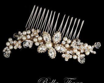 Cristal perlas nupcial peine peine nupcial del pelo peine del