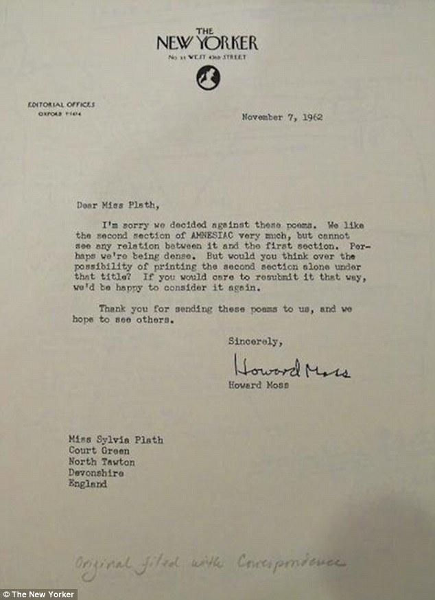 Sylvia PlathS Rejection Letter  Inspirational Story
