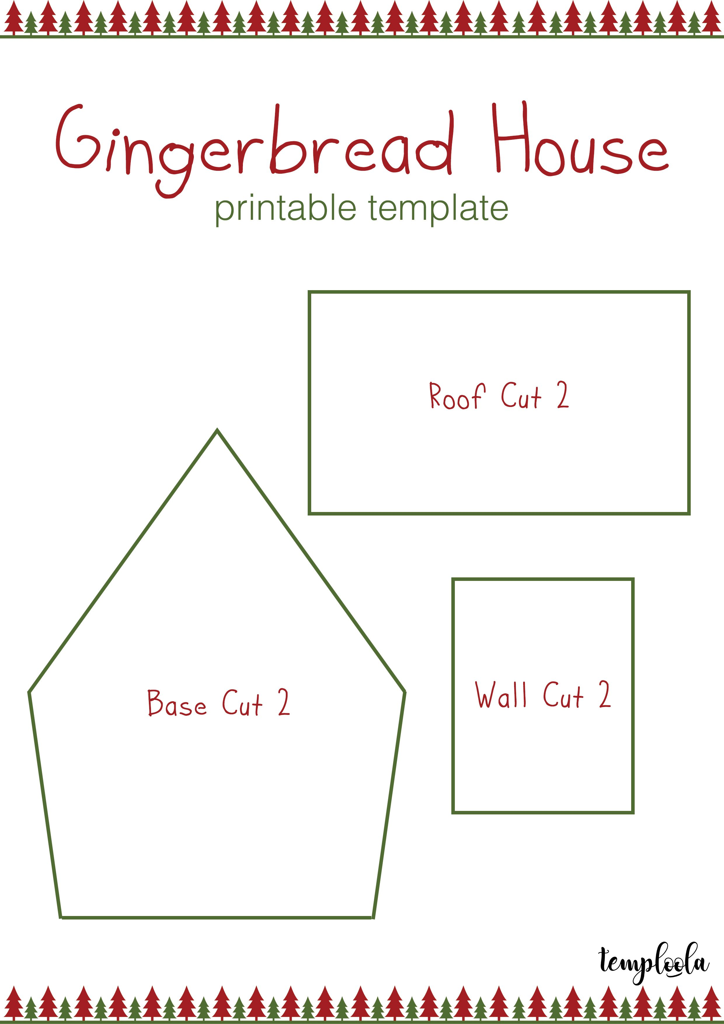 Gingerbread house template christmastrees red and green