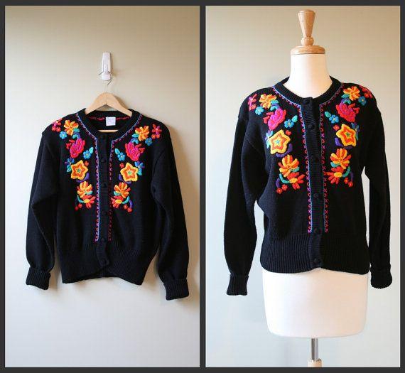 Vinatge 1980 black cardigan/ floral sweater by Ideallyvintage