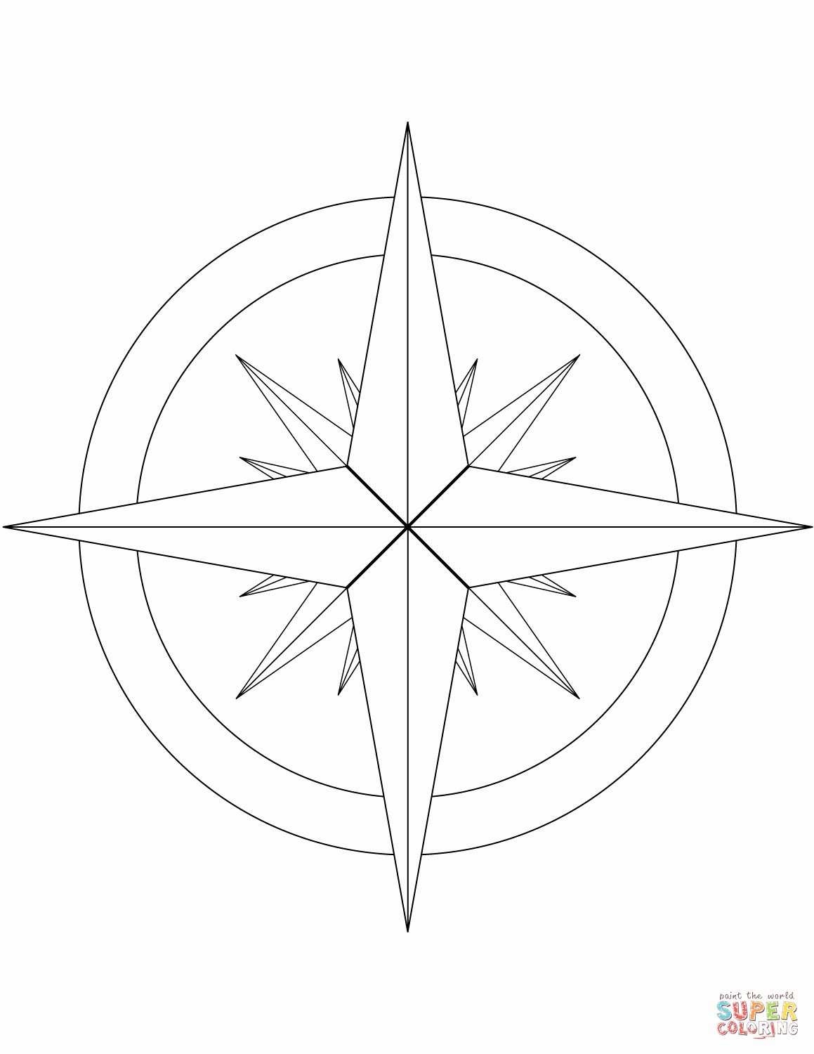 Compass Rose Coloring Page Unique 16 Point Pass Rose Coloring Page Rose Coloring Pages Compass Rose Simple Compass Tattoo