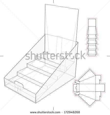 Product display and advertisement cardboard stand with blueprint product display and advertisement cardboard stand with blueprint layout stock vector malvernweather Gallery