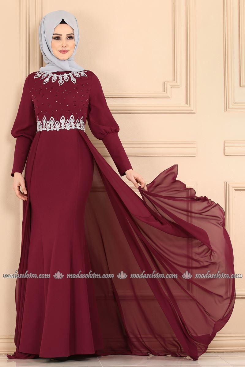 Tas Ve Incili Pelerinli Abiye 9018w153 Bordo Modaselvim The Dress Moda Stilleri Sade Gelinlikler