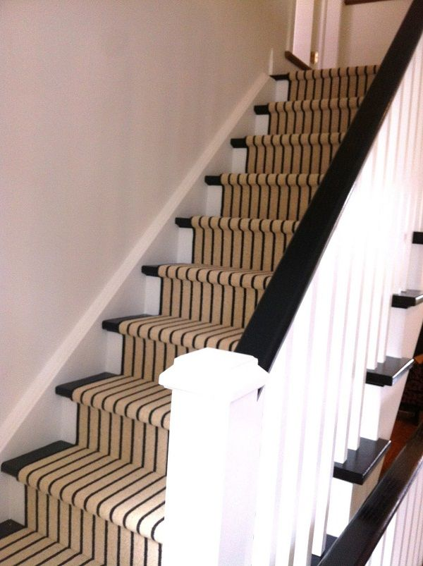Decorations Plaid Stair Runner With Thin Black Stripes Accent | Thin Carpet For Stairs | Area Rug | Grey | Stair Runners | Flooring | Hallway