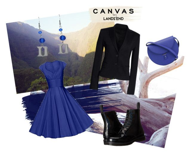 """""""Paint Your Look With Canvas by Lands' End: Contest Entry"""" by midnightwriter13 ❤ liked on Polyvore featuring Lands' End, Dr. Martens, Canvas by Lands' End and PB 0110"""